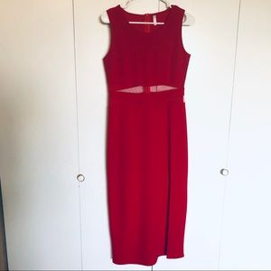Red Maxi Dress With Mesh